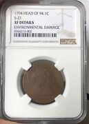 1794 Large Cent Head Of 94 Flat Pole Variety S-21 R.3 Xf Ef Details Ngc