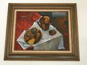 Vintage Large Abstract Still Life Oil Painting 32.5 X 26.5 Original On Canvas