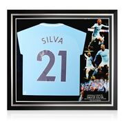 David Silva Signed Manchester City 2017-18 Player Issue Jersey. Premium Frame