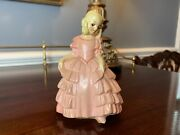 Vintage Chalk Ware Lovely Victorian Lady Figurine In Pink Dress Coventry Ware