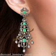 Vintage 8.89cts Rose Antique Cut Diamond Emerald Silver Wedding Earring Jewelry