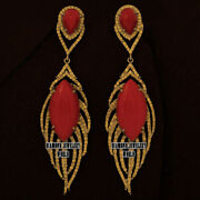 Victorian 4.95cts Rose Cut Diamond Coral Silver Stunning Feather Earring Jewelry