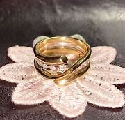 Georg Jensen💥magic💥18k W Gold/diamond Band + Y Gold Coil Ring Rrp Andpound2945. O/55