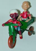 Henry Motoring Mahout Driver Celluloid Figures Tin Windup 3 Wheel Scooter Japan