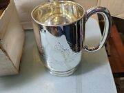 4x Vintage Silver Plated Pint Mugs Engraved Boxed Never Used
