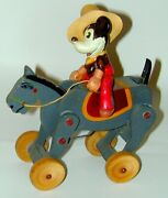 Celluloid Cowboy Mickey Mouse On Wood Bucking Bronco Horse Wind-up 1930s Japan