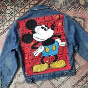 Mickey Mouse Trucker Jean Jacket Embellished Beaded Sequin Vintage Mickey And Co