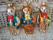 3 Blown Glass Adorable Teddy Bears In Vests Christmas Ornaments New