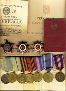 Soviet Badge Banner Medals 2 Orders Gpw Red Star Poland Chech Stalingrad 1212