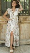 Jaase Boho Button Up Long White Floral Maxi Dress W Crochet Back And Elastic Waist