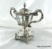 19th Antique French Sterling Silver And Crystal Mustard Pot Jam Or Condiment Jar