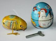 Vintage Haji Wind Up Chicken W/ Key And Egg Tin Litho Pecking Chick Toy Japan
