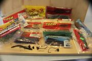 Box M Lot Of Assorted Fishing Worms Swimbaits, Tackle Bass Tackle