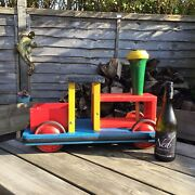 Old Vintage Retro Large Colourful Childs Wooden Ride On Train Toy Great Toy Prop
