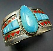 Elegant Michael Perry Navajo Sterling Silver Turquoise Coral Cuff Bracelet