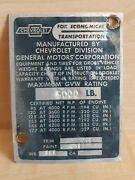 1966 Chevrolet C10 Data Plate Id Tag 5000 Lb - Vintage Chevy Oem Gmc Truck 60s
