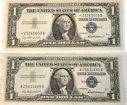 1957 One Dollar Silver Certificates Star Notes One Star Error-lot Of 2 Notes