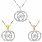 3/4 Ct Round Real Diamond Dancing Double Circle Pendant Necklace In 14k Gold