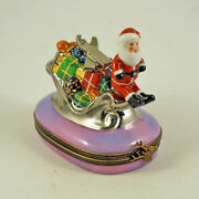 New French Limoges Trinket Box Santa Claus On Sled With Christmas Gifts And Skis