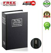Book Safe With Combination Lock Home Dictionary Diversion Metal Lock Box Black..