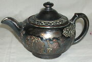 19th Century, Wedgwood Silver And Copper Overlay Porcelain Individual Teapot