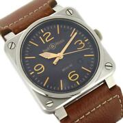 Bell And Ross Br03-92 Golden Heritage W/box Genuine Nylon Belt Menand039s Watch Auth