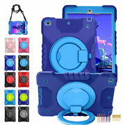 For Ipad Mini 4/5 Pro11and039and039 Color Contrast Silicone Armor Stand Case+shoulder Belt