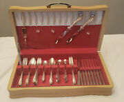 74 Pcs. 1847 Rogers Bros. Daffodil Silver Plate Service For 12 And Wooden Chest
