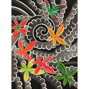 Maple Leaves By David Simmes Autumn Traditional Japanese Tattoo Canvas Art Print