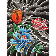 Peony Ii By David Simmes Traditional Japanese Tattoo Floral Canvas Art Print
