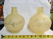 Vintage Yellow Gwtw Globe Parlor Lamps