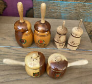 3 Set Lot Wooden Salt And Pepper Shakers Butter Churns And Pots