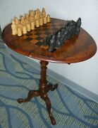 Antique Mid 19thc Victorian Walnut And Inlaid Chess Top Drop Leaf Tripod Table