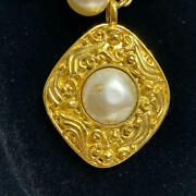 Necklace White Pearl Beaded Gold Plated Square Rhombus Pendant Vintage