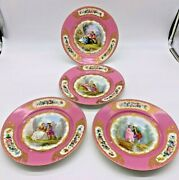 Antique Early Sevres Four Hand Painted Rose/pink 1750and039s Lovers Cabinet Plates