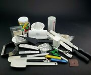 Pampered Chef Lot Random Pieces Measuring Spoons Knives Spatulas Juicer Used