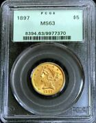 1897 Gold United States 5 Liberty Head Half Eagle Coin Pcgs Mint State 63 Ogh