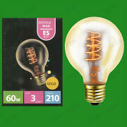 4x 60w Antique Vintage Gold G80 Dimmable Globe Light Bulbs, Screw Es E27 Lamps