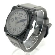 Bell And Ross Br03-92-s Date Aviation Automatic Menand039s Watch Ss Rubber Black