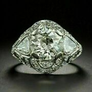 Antique Victorian Edwardian Engagement Ring 3.00 Ct Diamond 14k White Gold Over