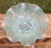 Rare Northwood Ice Blue Carnival Glass Rose Show 8 1/2 Bowl