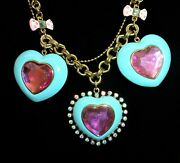 Betsey Johnson 3 Heart Candyland Choker Pendant Pink And Blue Heart Necklace