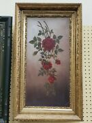 Vintage Oil Painting Roses Red Stunning Framed Art Work Collectible