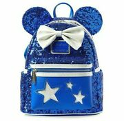 Disney Parks Loungefly Minnie Blue Wishes Come True Mini Backpack Sequin Mickey