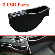 Car Seat Gap Location Handrail Storage Box Water Cup Frame Abs 2 Usb Charging