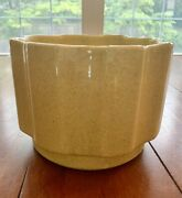 Vtg Upco Ungemach Art Pottery Planter Usa Yellow Speckled Footed Ribbed 6.5 D