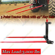 3 Point Tractor Hitch W/ 49 Hay Bale Spear Attachment Heavy Duty Quick Attach