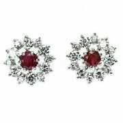 Rare Pt900 Red Beryl Diamond Earrings 0.32ct D0.96ct - Auth Selby_japan