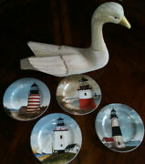 Set Of 4 David Carter Brown And039by The Seaand039 Decorative Lighthouse Plates 8 1/8 D