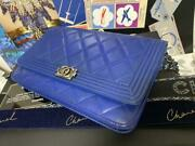 Flap Bag Blue Leather Matelasse Gold Cc Logo Chain Wallet Clutch With Box